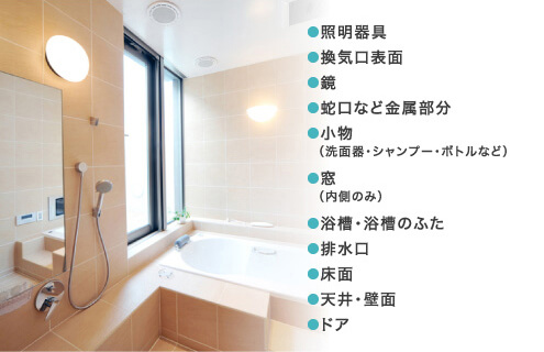 照明器具、換気口表面、鏡、蛇口など金属部分、小物(洗面器・シャンプー・ボトルなど)、窓(内側のみ)、浴槽・浴槽のふた、排水口、床面、天井・壁面、ドア