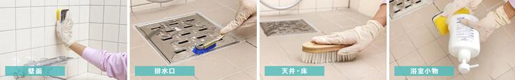 壁面、排水口、天井・床、浴室小物