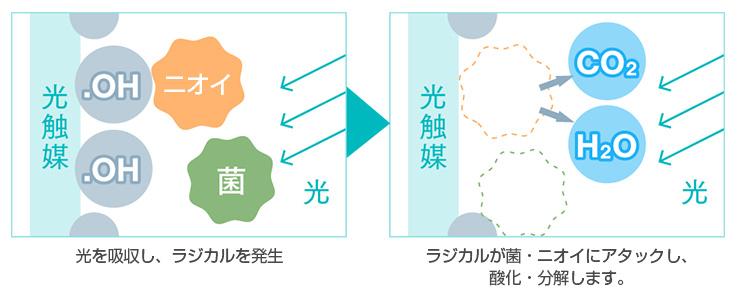 光触媒による抗菌・消臭のイメージ