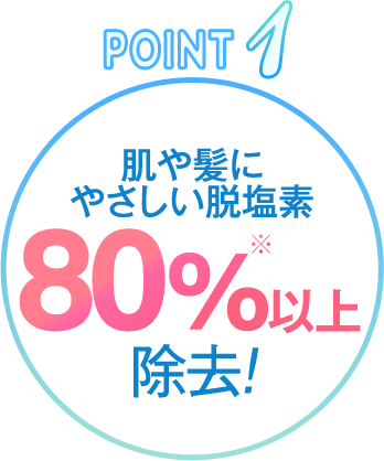 POINT1: 肌や髪にやさしい 脱塩素80%※以上除去!